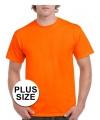 Grote maat neon oranje t-shirts voor volwassenen voordelig