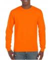 Heren shirt lange mouwen fluor oranje