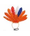 Oranje veren haarband voor volwassenen