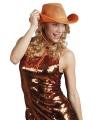 Oranje cowboyhoeden met gaas