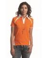 Oranje dames polo met witte kraag
