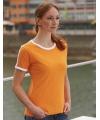 Oranje met wit contrast dames shirt