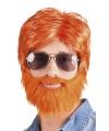 Oranje pruiken met baard en snor