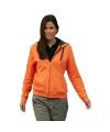 Oranje dames vest met contrast capuchon