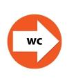 Bewegwijzering stickers WC 4 st oranje